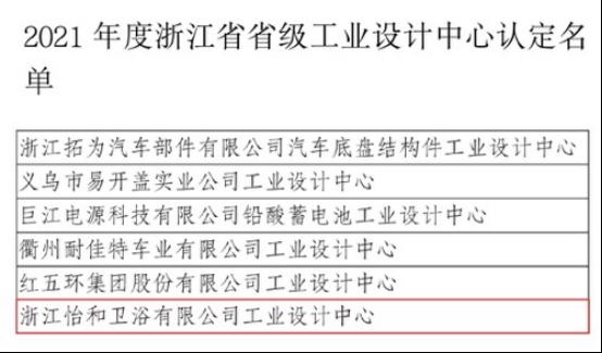 喜报!怡和卫浴被认定为2021年度浙江省省级工业设计中心!101.png